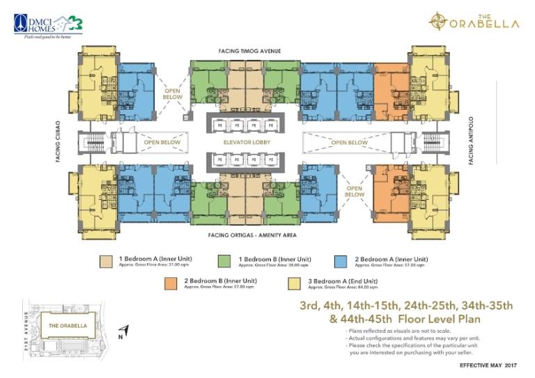 3rd, 4th, 14th, 15th, 24th, 25th, 34th, 35th & 44th, 45th Floor Level Plan