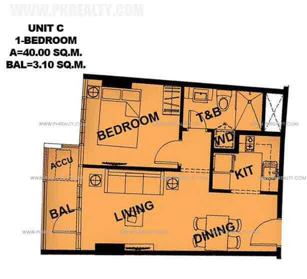 Unit C 1 Bedroom