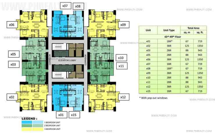 43rd to 49th Floor Plan (30x30)