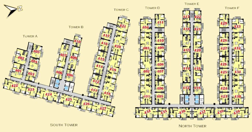 4th - 15th Floor Plan
