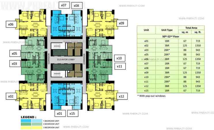 50th to 52nd Floor Plan (30x30)