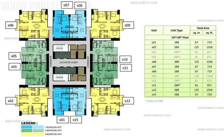 53rd to 59th Floor Plan (30x30)