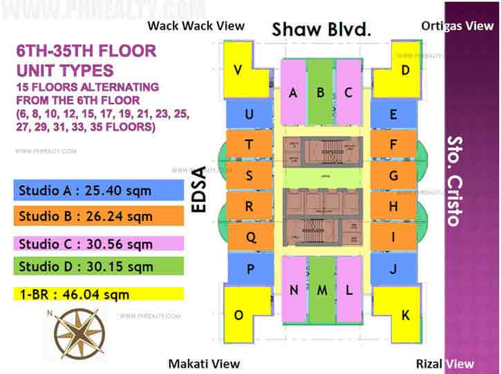 6th - 35th Floor Unit Types