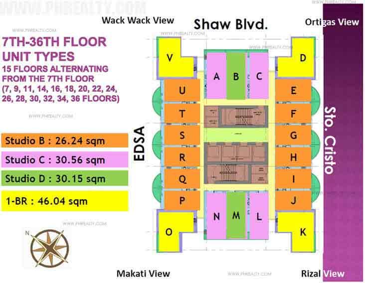 7th - 36th Floor Unit Types