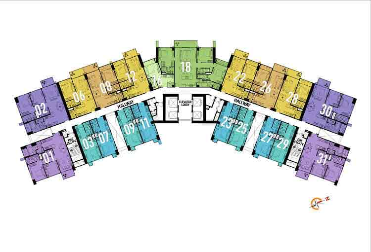 10th, 18th, 25th, 31st, and 38th FLoor Plan