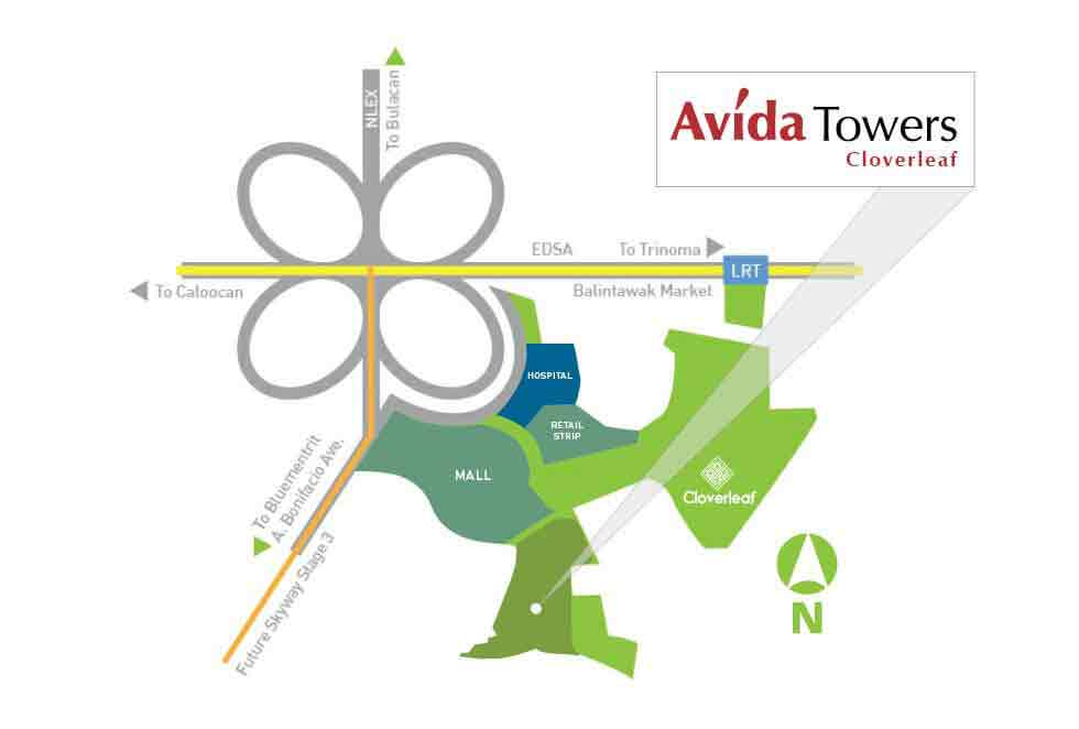 Avida Towers Cloverleaf Location