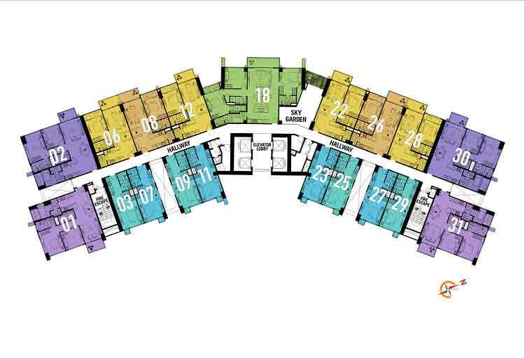 9th, 17th, 23rd, 30th, and 37th Floor Plan