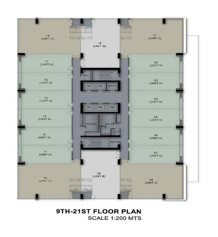 9th - 21st Floor Plan