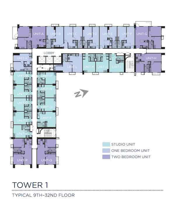 Typical 9th - 32nd Floor Plan