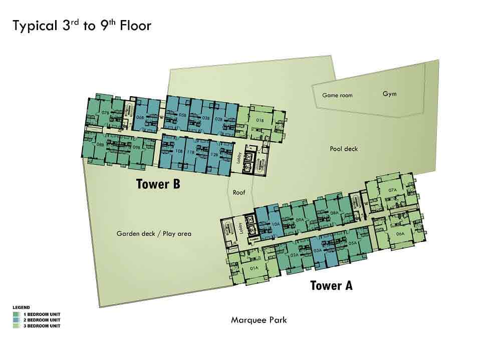 3rd to 9th Floor Plan