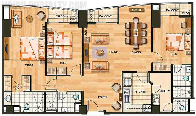 3 bedroom flat - Garden By The Bay Floor Plan