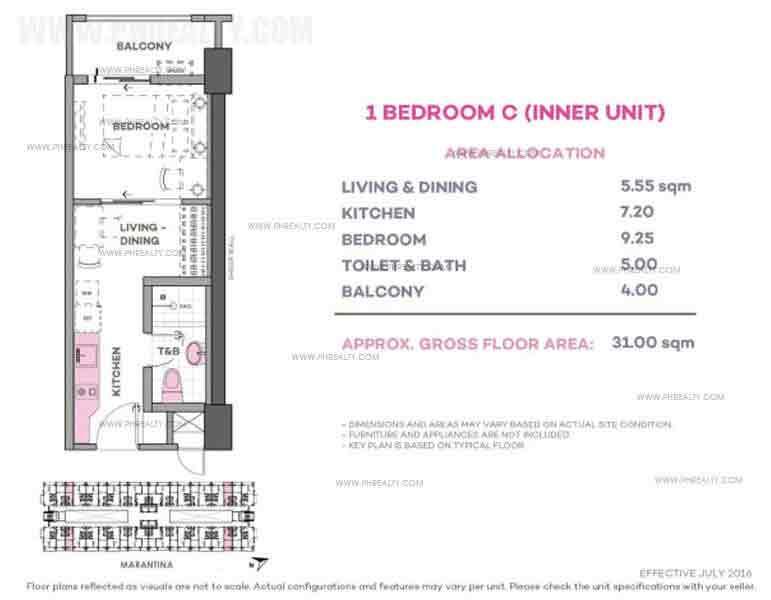 Marintana 1 Bedroom C (Inner Unit)