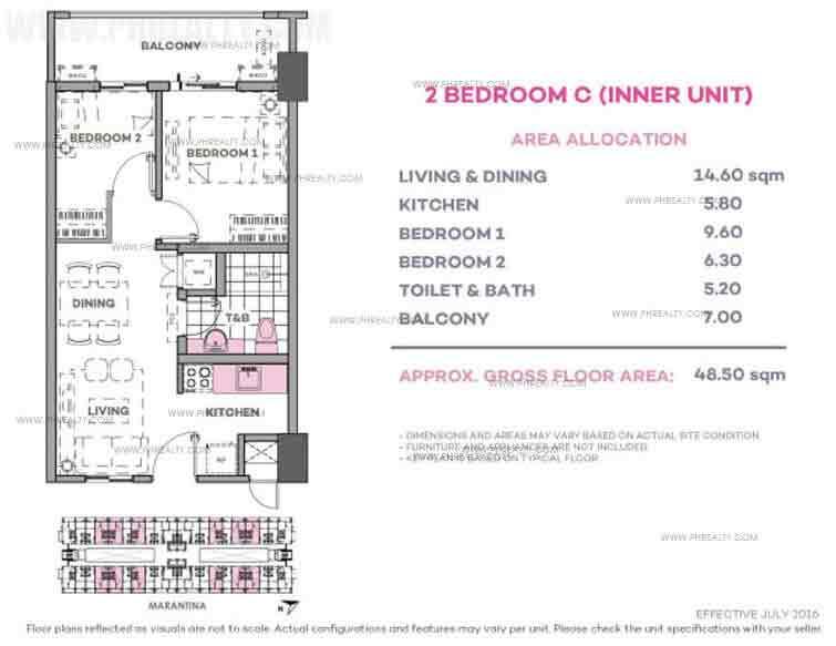 Marintana 2 Bedroom C (Inner Unit)
