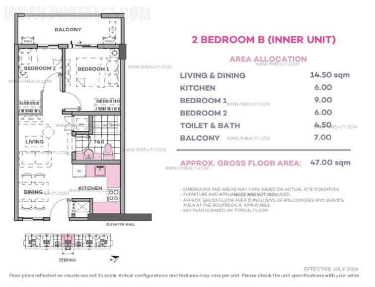 Zebrina 2 Bedroom B (Inner Unit)
