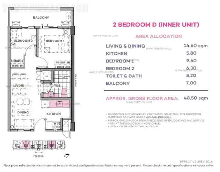 Zebrina 2 Bedroom D (Inner Unit)
