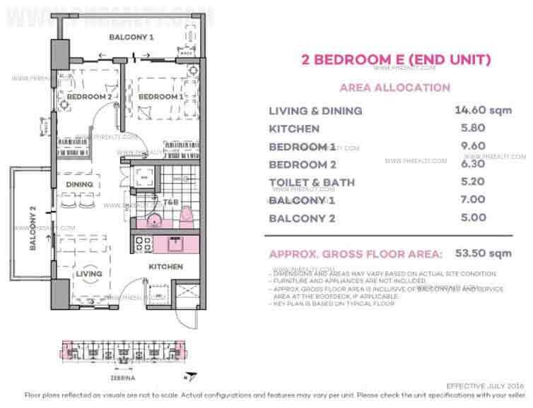 Zebrina 2 Bedroom E (End Unit)