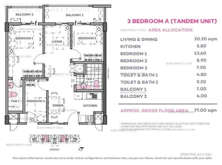 Zebrina 3 Bedroom A (Tandem Unit)