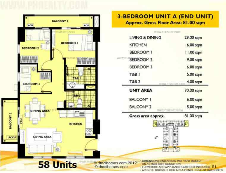 Unit A 3 Bedroom