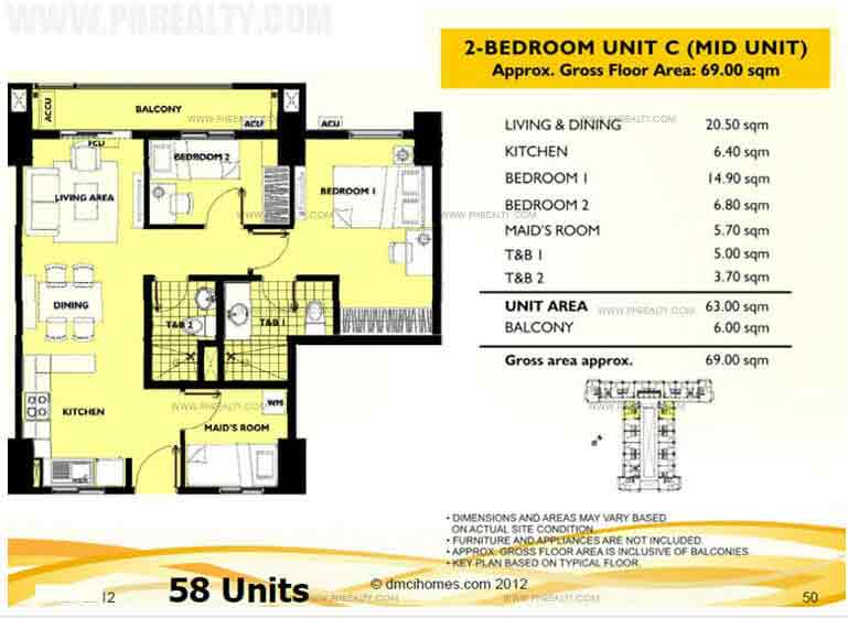 Unit C 2 Bedroom