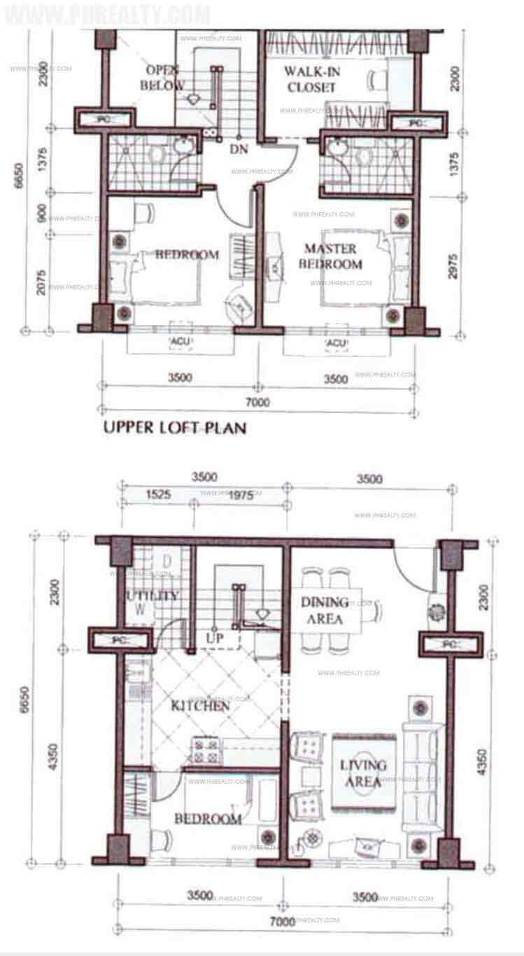 Unit Plan 2 Bedroom Loft Combined Unit