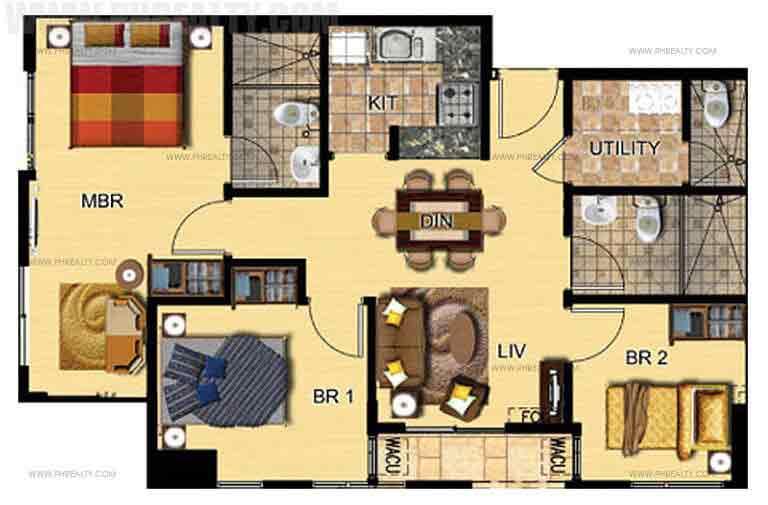 3 bedroom - Garden By The Bay Floor Plan