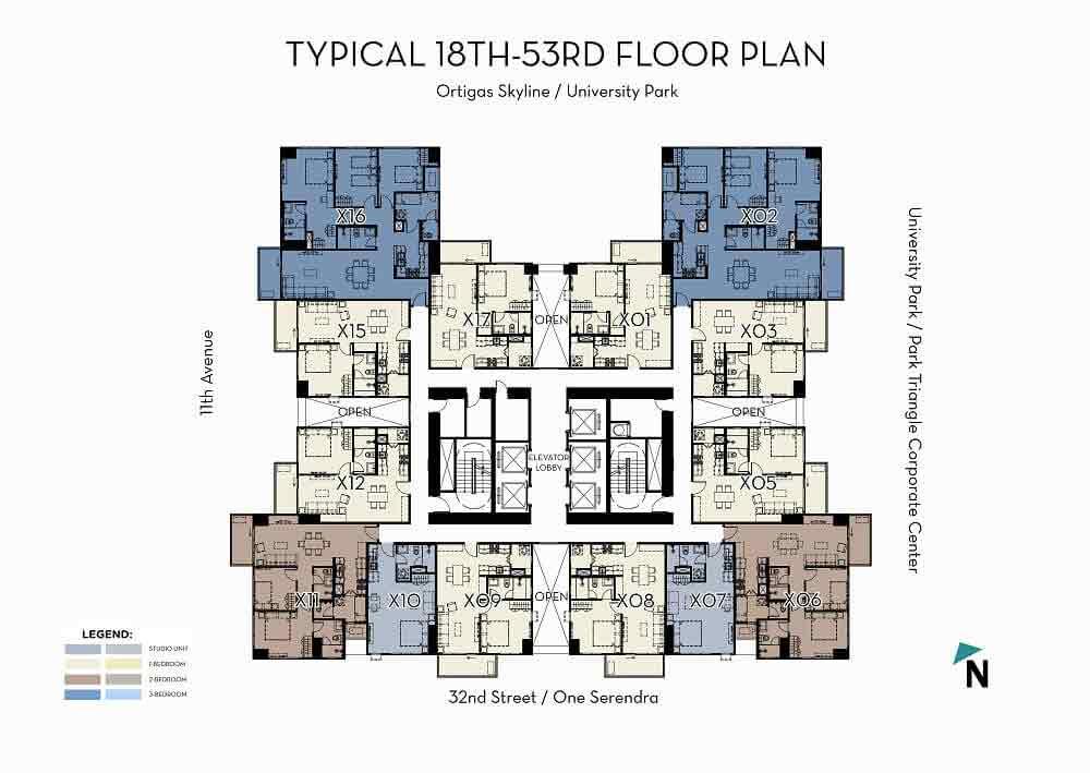 High Zone (18F-53F) Floor Plan