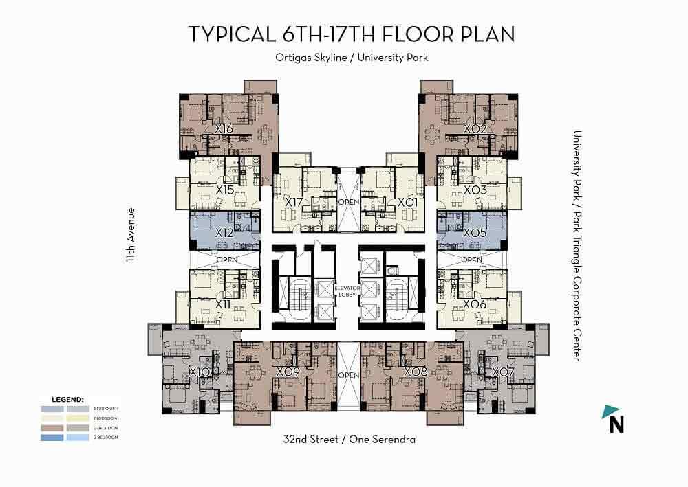 High Zone (6F-17F) Floor Plan