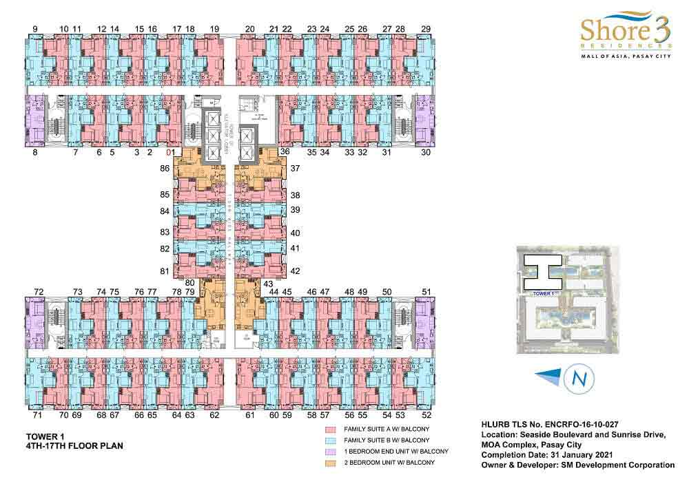Tower 1 - 4th to 17th Floor Plan