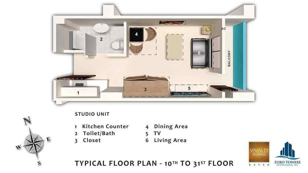 Studio Unit - Typical Floor Plan