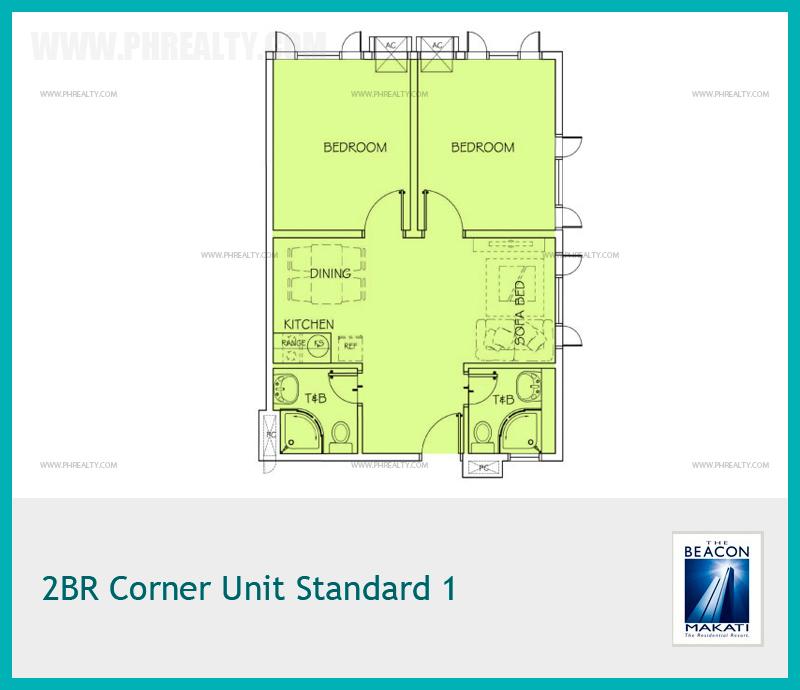 2 BR Corner Unit Standard 1