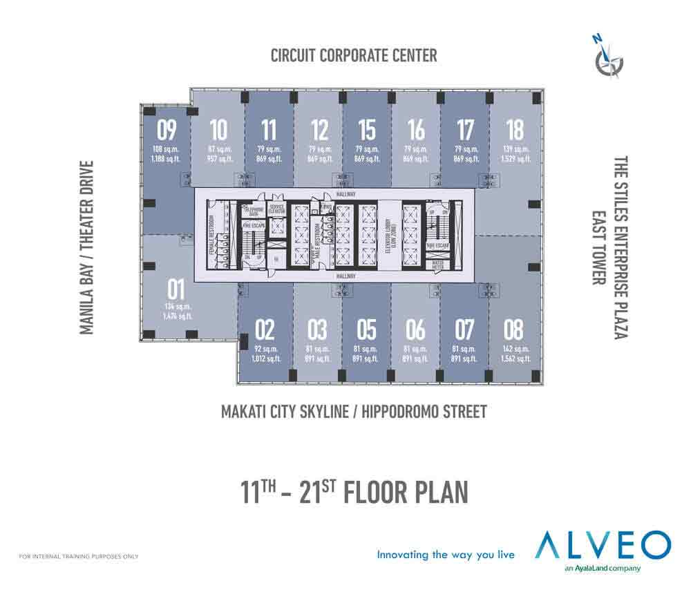 11th to 21st Floor Plan