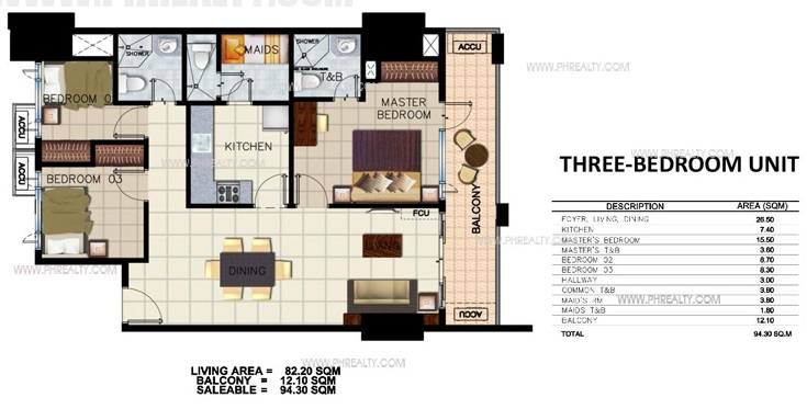 Three Bedroom Units