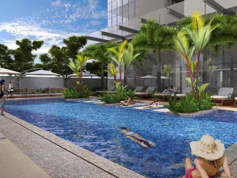 Tower 2 Lap Pool with Jacuzzi Beds