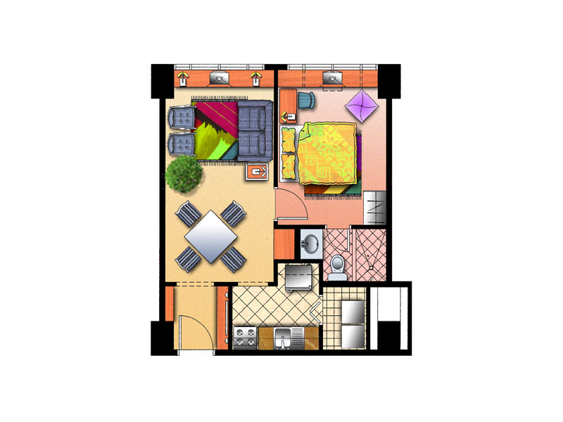 Typical 1 BR Floor Plan