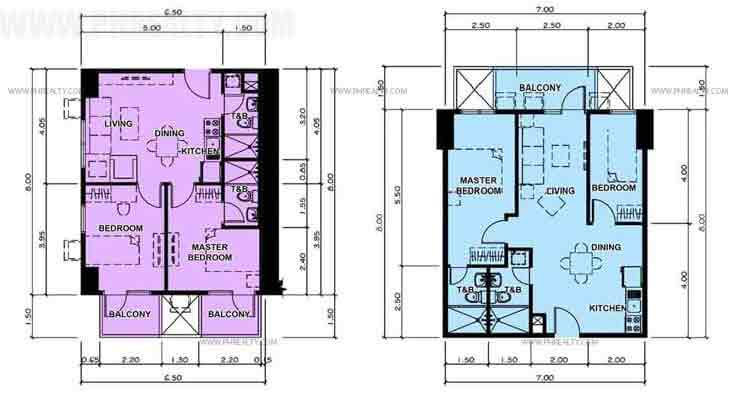 Typical Two Bedroom Unit Plan With Balcony
