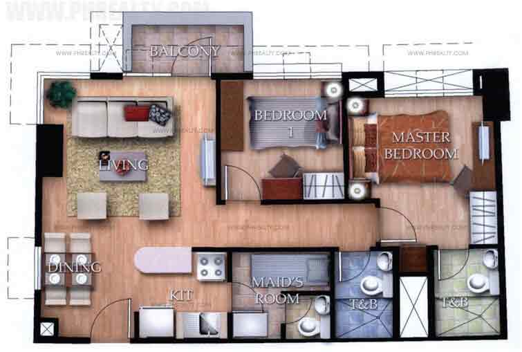 Typical Unit A With Balcony 2 Bedroom