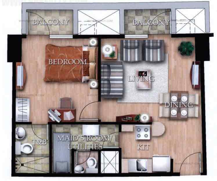 Typical Unit B With Balcony 1 Bedroom