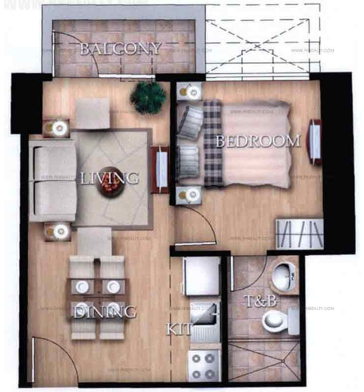 Typical Unit C With Balcony 1 Bedroom