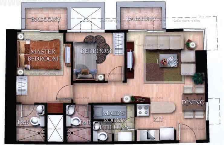 Typical Unit D With Balcony 2 Bedroom