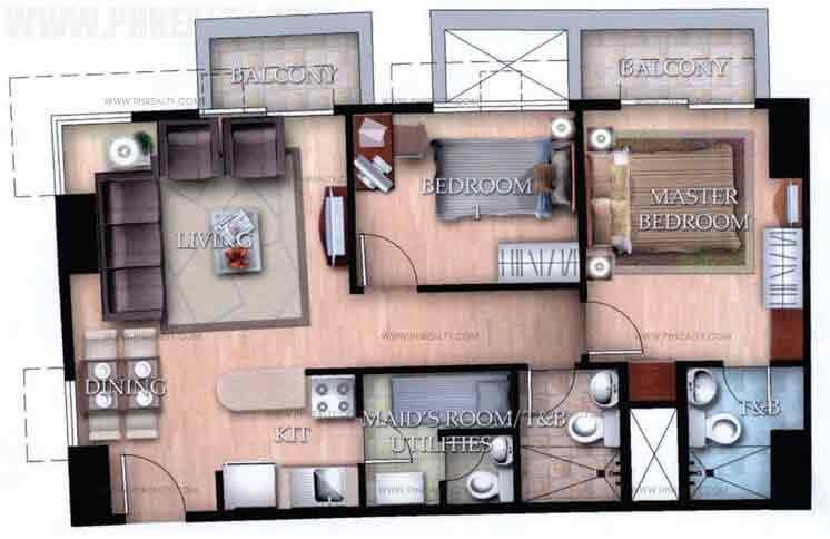 Typical Unit E With Balcony 2 Bedroom