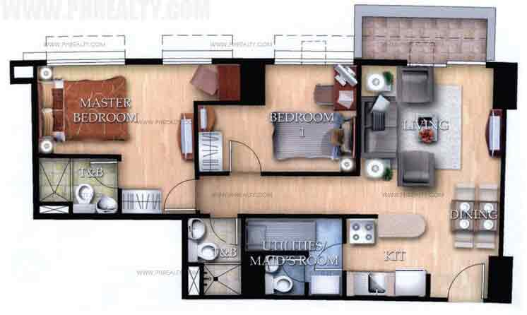 Typical Unit F With Balcony 2 Bedroom