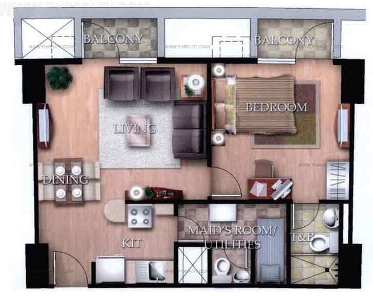 Typical Unit G With Balcony 1 Bedroom