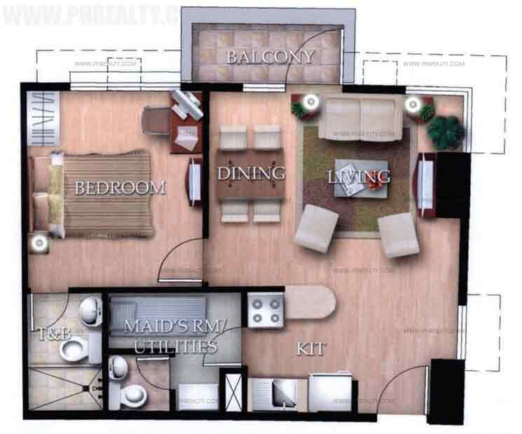 Typical Unit H With Balcony 1 Bedroom