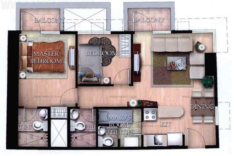 Typical Unit H With Balcony 2 Bedroom