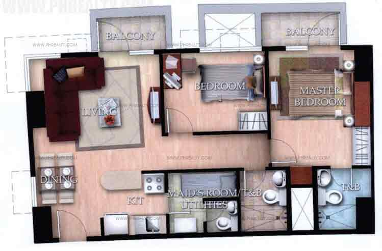 Typical Unit I With Balcony 2 Bedroom