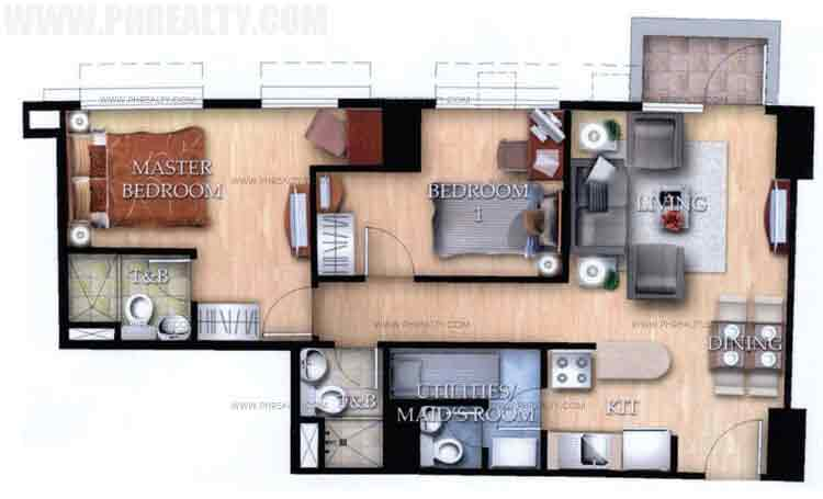 Typical Unit J With Balcony 2 Bedroom