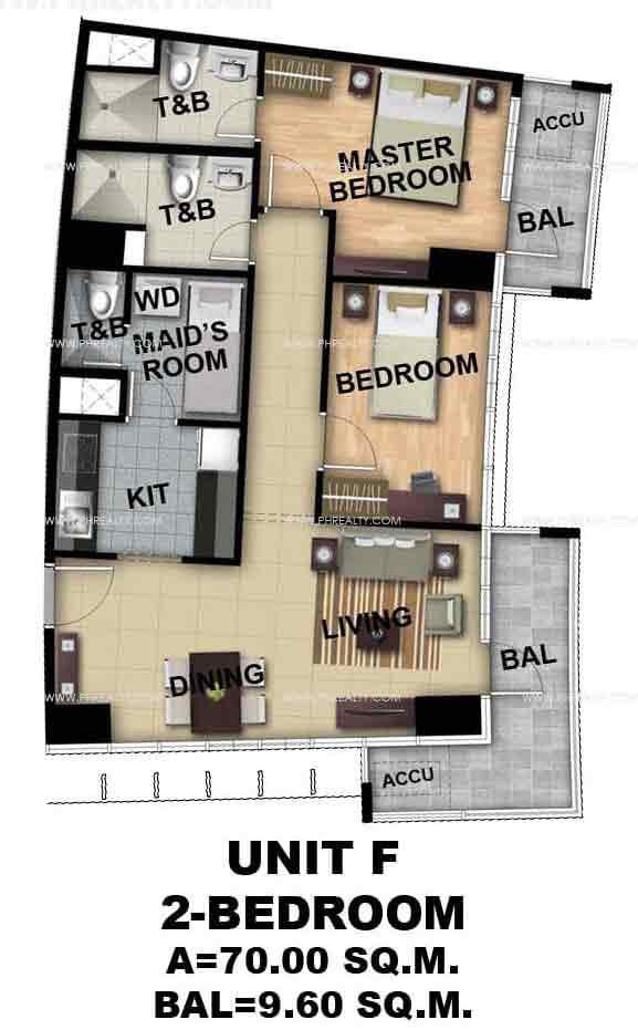 Unit F 2 - Bedroom