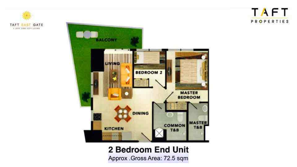2 Bedroom End Unit