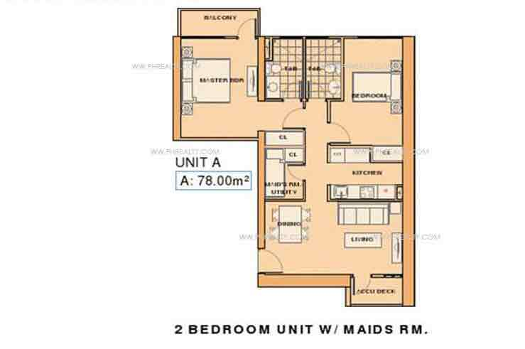 Unit A- 2 Bedroom unit with Maids RM