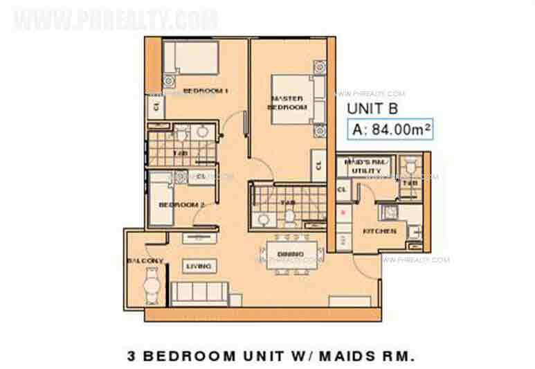 Unit B- 3 Bedroom unit with Maids RM